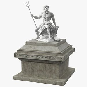 3D Poseidon Marble Statue with Pedestal