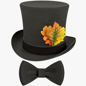 3D Cylinder Hat and Bow Tie Collection V2 model