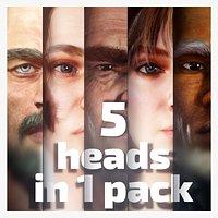 5 realistic models of heads