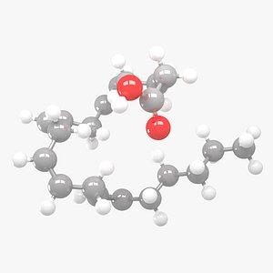 3D Arachidonic acid - C20H32O2 Molecular Structure model