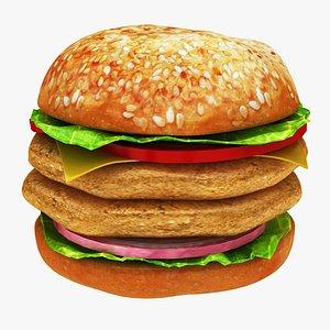 3D chicken burger double model