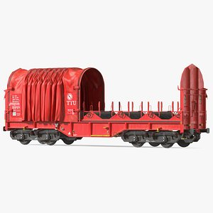 3D DB Cargo Coil Transporter Tarpaulin Freight Wagon Opened Dirty model