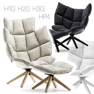 3D Armchair BB Italia Husk H1G H2G H3G HP4