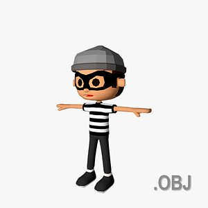 3D model Thief Man - OBJ - Low Poly Quad