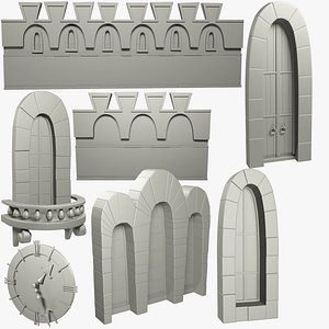 medieval building parts castle mesh 3D model