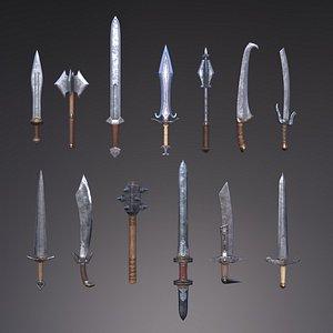 3D swords set