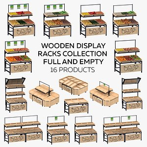 3D Wooden Display Racks Collection - Full and Empty