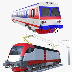 Siemens locomotive and diesel train 3D model