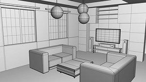 Living Room Base Mesh 3D model