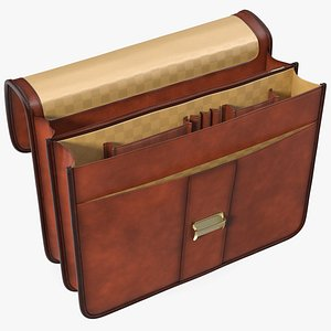 Opened Leather Flapover Briefcase Brown 3D model
