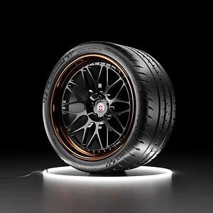 3D Car wheel Michelin Pilot Sport Cup 2 tire with HRE Calssic 300 rim model