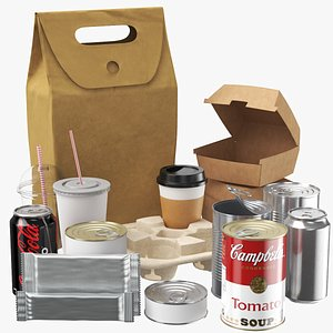 3D model Large Food Packaging Collection