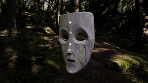 Realistic wood mask 3D model
