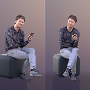 3D 10477 John - Casual Sitting Guy With Phone model