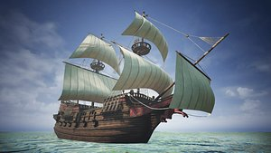 3D Roter Lowe Galleon