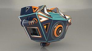 3D Screen Character Robot Head