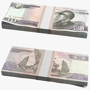 North Korea 10 Won Banknotes Bundle 3D model