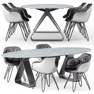 3D model Stay table and Lap 4052 chairs