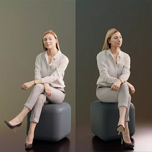 3D 10040 Ramona Sitting Business Woman With Crossed Legs