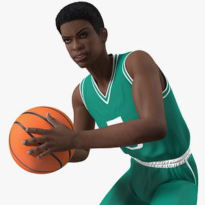 Dark Skin Teenager Basketball Player Rigged 3D model