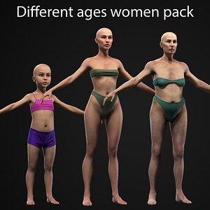 3D Different ages women pack model