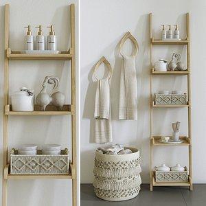 3D bathroom basket decor towels model
