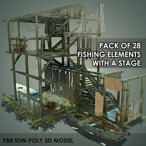 3D PACK OF 28 FISHING ELEMENTS WITH A STAGE Low-poly 3D model