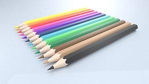 Set 12 Colored Pencils 3D model