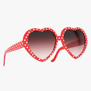 heart shaped sunglasses red 3D model