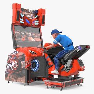 Boy on Motorcycle Racing Arcade Machine 3D model