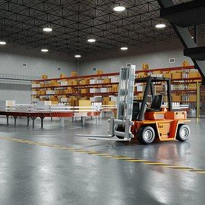 3D Warehouse Cargo Depot Interior Exterior