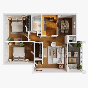 3D model 3D Floor Plan 01