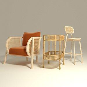 3D set rattan bamboo armchair