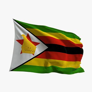 Realistic Animated Flag - Microtexture Rigged - Put your own texture - Def Zimbabwe 3D model