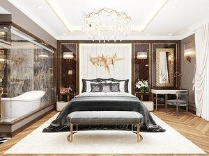 3D Modern Style Bedroom - 606 - Apartment Studio model