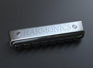harmonica music instrument 3D model