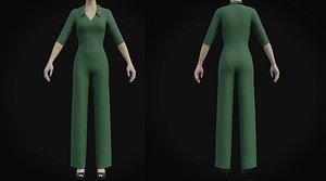 Elegant Female formal jumpsuit 3D model