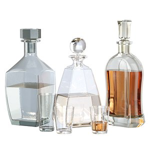 Glass set of decanters 3D