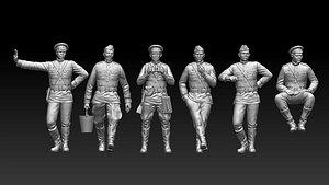 3D ussr soldiers ww2 model
