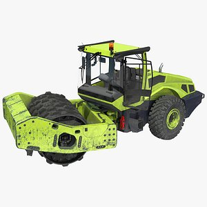 3D Single Drum Compactor Vehicle Dirty Rigged model