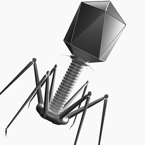 virus bacteriophage nanorobot rigged 3D model