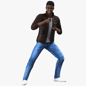 3D Teenager Dark Skin Street Outfit Rigged for Modo model