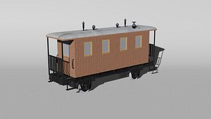 3D historical narrow-gauge passenger railcar