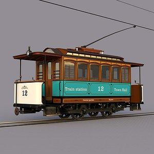 3D model old tram