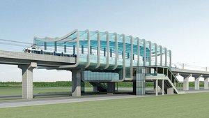 3D Light Rail Station 01 model