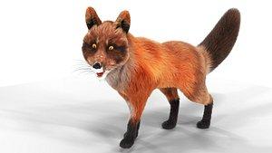 Fur Fox Rigged 01 model