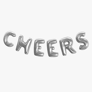 Foil Baloon Words Cheers Silver model
