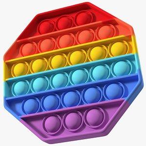 Rainbow Octagon Pop It Toy 3D