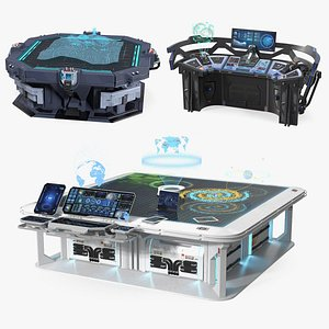 3D Sci Fi Holographic Tables Collection model