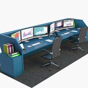 office workstation station 3D model